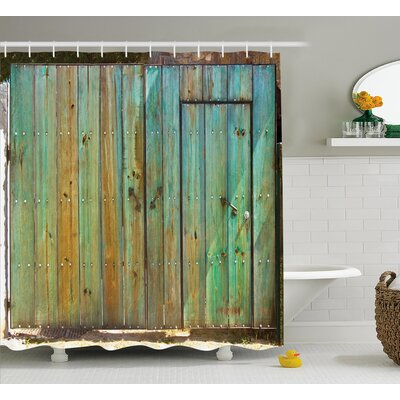 Vintage Rustic Old Wooden Gate Shower Curtain Size: 69 W x 75 L