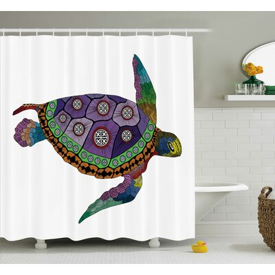 Mariel Sea Turtle Animal Artsy Shower Curtain Size: 69 W x 84 L