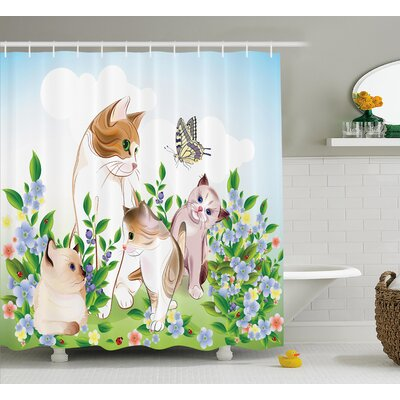 Kara Cute Happy Kittens Shower Curtain Size: 69 W x 84 L