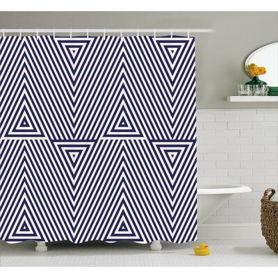 Bermudez Triangle and Stripes Shower Curtain Size: 69 W x 84 L