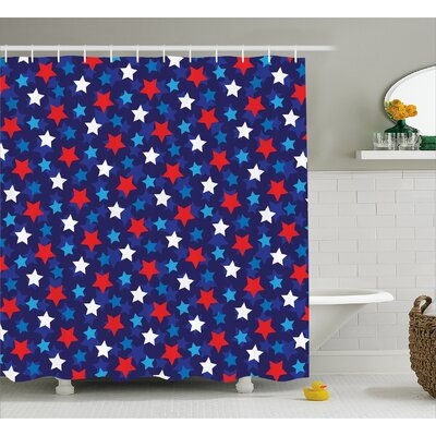 Sienna American Flag Stars Shower Curtain Size: 69 W x 84 L