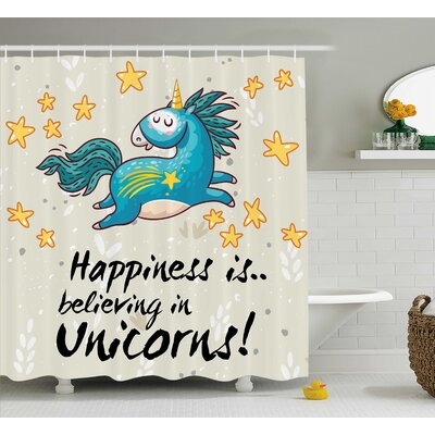 Axel Quote Happiness Kids Shower Curtain Size: 69 W x 70 L