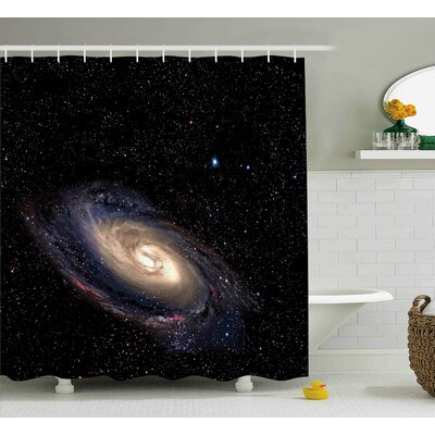 Spiral Space Universe Shower Curtain Size: 69 W x 70 L