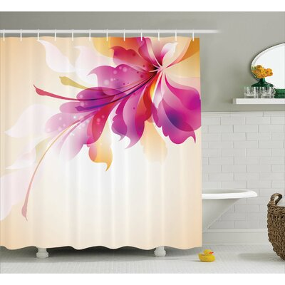 Adeline Floral Point and Leaf Shower Curtain Size: 69 W x 84 L