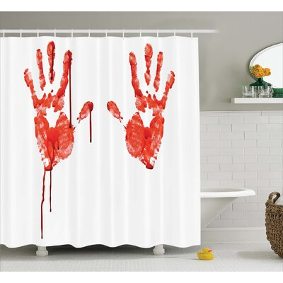 Bloody Help me Horror Scary Shower Curtain Size: 69 W x 70 L