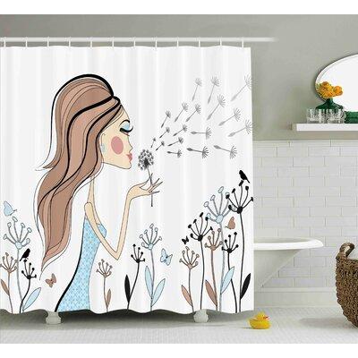 Anika Dandelion Flower Spring Shower Curtain Size: 69 W x 84 L
