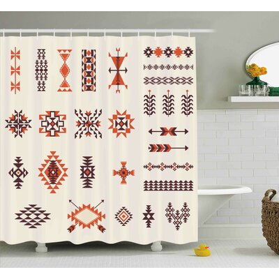 Ayla Aztec Tribal Pattern Shower Curtain Size: 69 W x 84 L