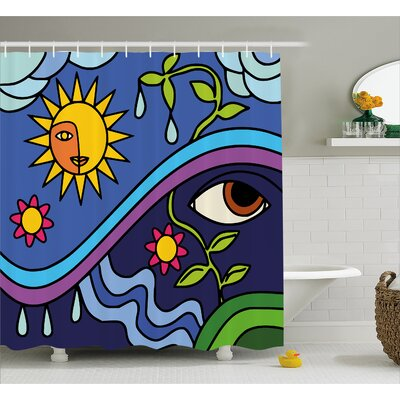 Celie Sunny Nature Flowers Shower Curtain Size: 69 W x 75 L