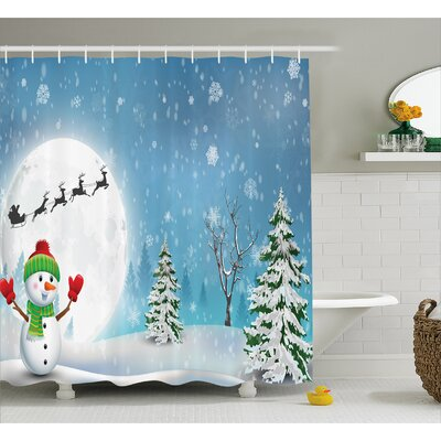 Christmas Jolly Snowman Santa Shower Curtain Size: 69 W x 75 L
