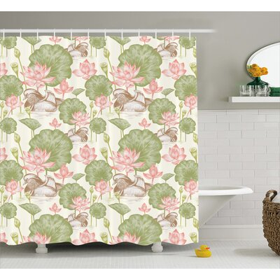 Angelina Lotus Flowers Pond Lilies Shower Curtain Size: 69 W x 75 L
