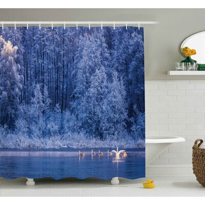 Winter Idyllic Nature Decor Print Shower Curtain Size: 69 W x 84 L