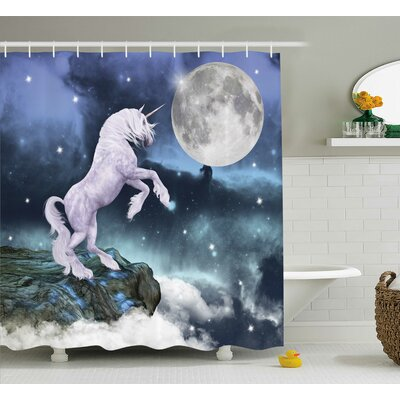Unicorn Rock Up Cliffs Image Shower Curtain Size: 69 W x 70 L