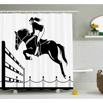 Lourdes Jockey Girl Jumping Shower Curtain Size: 69 W x 84 L