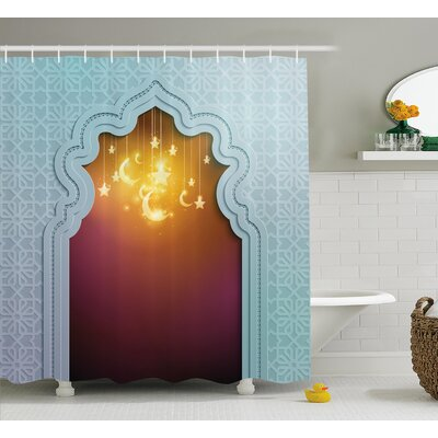 Askham Arabic Signs and Stars Shower Curtain Size: 69 W x 84 L