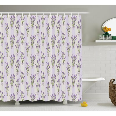 Athenais Stripes and Flowers Shower Curtain Size: 69 W x 84 L