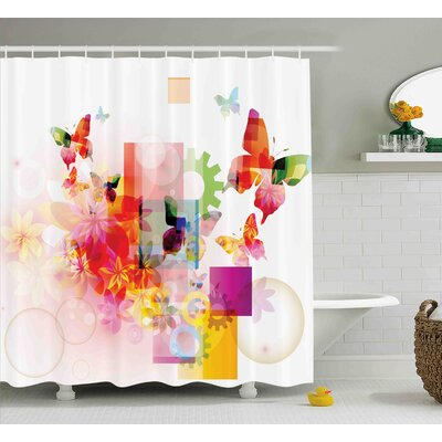 Adams Natural Decor Flowers Shower Curtain Size: 69 W x 84 L