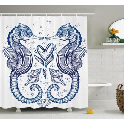 Roxanna Seahorse Valentines Shower Curtain Size: 69 W x 84 L