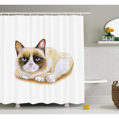 Everly Grumpy Angry Cat Love Shower Curtain Size: 69 W x 70 L