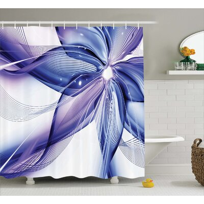 Aaliyah Geometric Flowers Shower Curtain Size: 69 W x 84 L