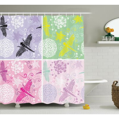 Lottie Dragonflies Dandelion Shower Curtain Size: 69 W x 75 L
