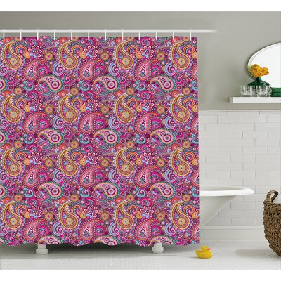 Hakeem Asian Flowers and Sun Shower Curtain Size: 69 W x 75 L