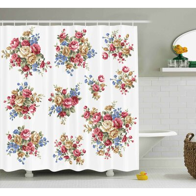 Dahlia Romance Love Wedding Shower Curtain Size: 69 W x 70 L