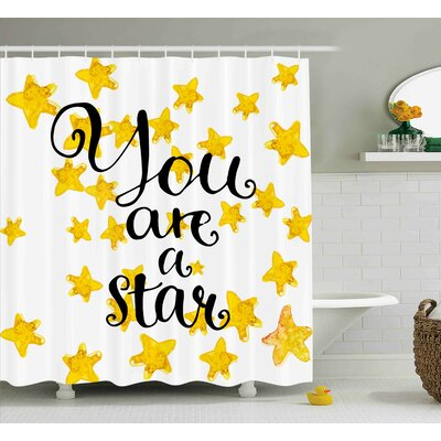 Kent Motivational Star Phrase Woven Shower Curtain Size: 69 W x 84 L