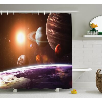 Belz Space View Solar System Shower Curtain Size: 69 W x 75 L