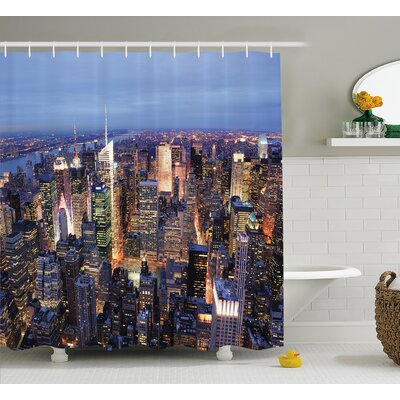 Landscape Aerial View of NYC Shower Curtain Size: 69