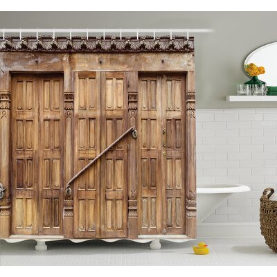 Rustic Retro Carving in Nepal Shower Curtain Size: 69 W x 84 L