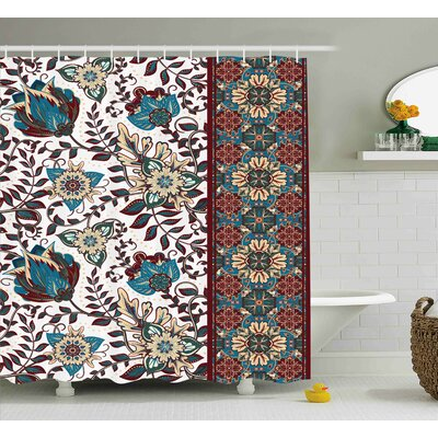 Creekside Islamic Floral Border Shower Curtain Size: 69 W x 75 L