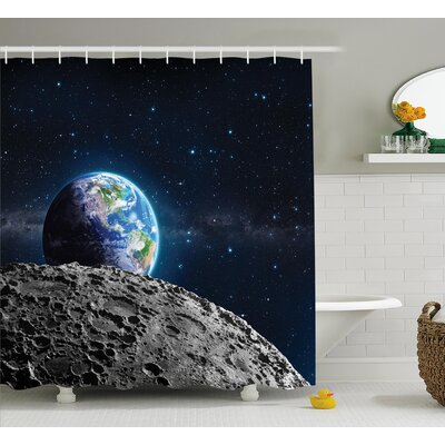Moon Surface Lunar Decor Shower Curtain Size: 69 W x 84 L
