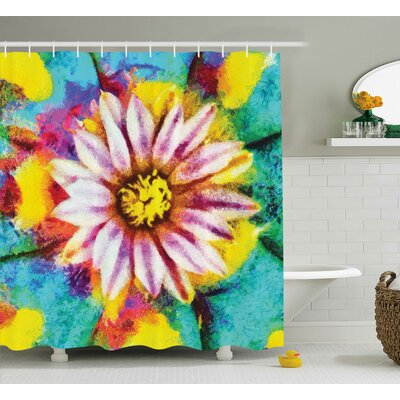 Flower Oil Painting Effect Art Shower Curtain Size: 69