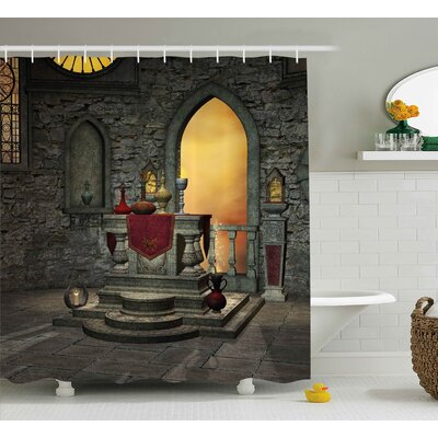 Gothic Ancient Holy Altar Shower Curtain Size: 69 W x 75 L