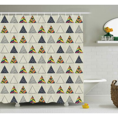 Benfer Abstract Triangle Shower Curtain Size: 69