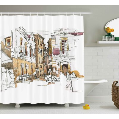 Blondelle Sketchy Street Art View Shower Curtain Size: 69 W x 75 L