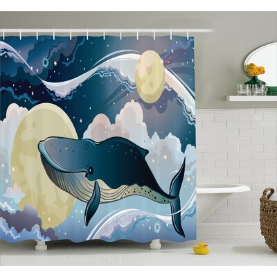 Lottie Night Clouds in Planet Shower Curtain Size: 69 W x 84 L