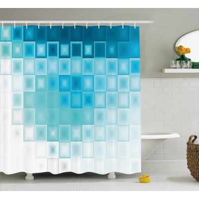 Hettie Fractal Square Shapes Shower Curtain Size: 69 W x 70 L