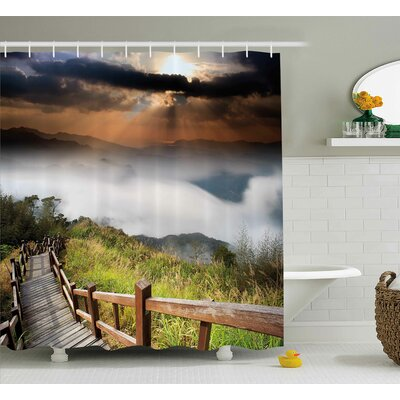 Nature Hazy Foggy Sky Italian Shower Curtain Size: 69 W x 75 L