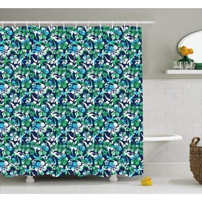 Arabell Flowers Palm Summer Tree Shower Curtain Size: 69 W x 84 L