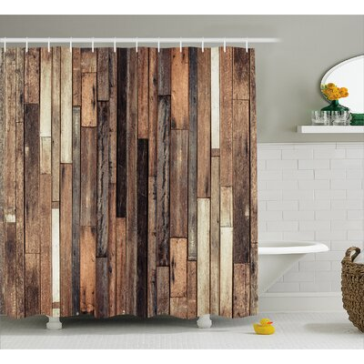 Wooden Old Floor Rustic Style Shower Curtain Size: 69 W x 75 L