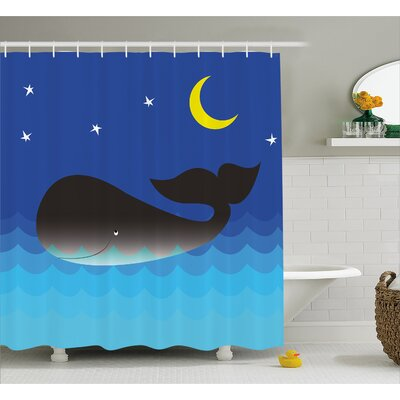 Turner Whale in Ocean and Star Shower Curtain Size: 69 W x 70 L