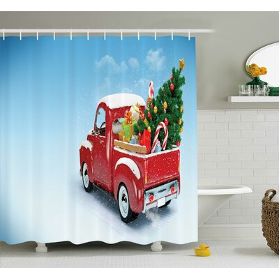 "Christmas Red Truck Xmas Tree Shower Curtain Size: 69"" W x 70"" L THLA2025 39393997"