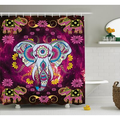 Azariah Oriental Space Effects Print Shower Curtain Size: 69 W x 70 L