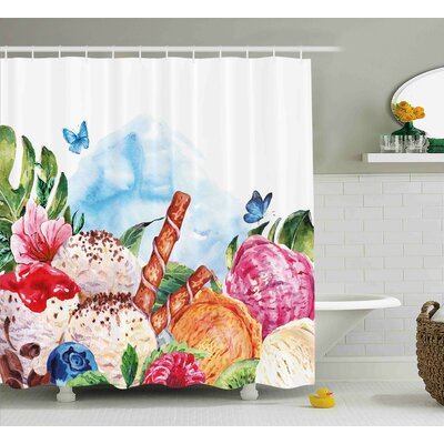Tropical Dessert and Flower Art Shower Curtain Size: 69 W x 75 L
