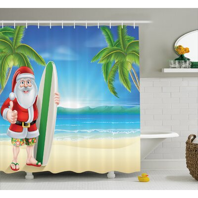 Christmas Santa with Surfboard Shower Curtain Size: 69 W x 84 L
