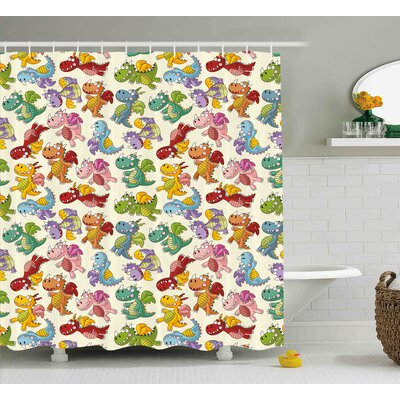 Julian Cute Happy Dinasours Shower Curtain Size: 69 W x 84 L