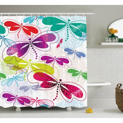 Lottie Art Vivid Dragonflies Shower Curtain Size: 69 W x 84 L
