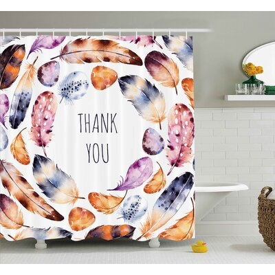 Banister Bird Feathers Thank You Shower Curtain Size: 69 W x 75 L