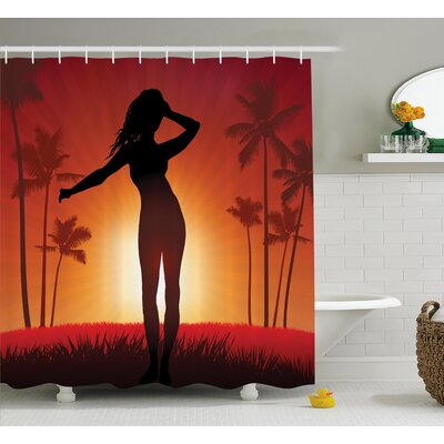 Beach Woman with Exotic Trees Shower Curtain Size: 69 W x 84 L
